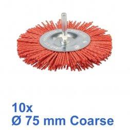Nylon Rundbürste mit Spannstift Ø 75 mm Grob 10 Stück
