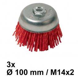 Nylon Topfbürste Ø 100 mm M14 Grob 3 Stück