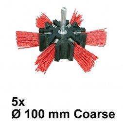 Nylon Fächerbürste mit Spannstift Ø 100 mm Grob 5 Stück