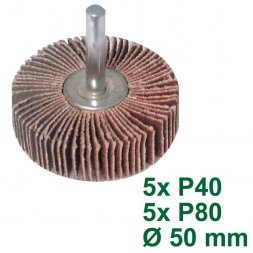 Flap Sanding Wheel with Shank Ø 50 mm 40 / 80 Grit 10 Pieces