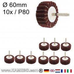 Schleifmop mit Spannstift Ø 60 x 30 mm P80 10 Stück