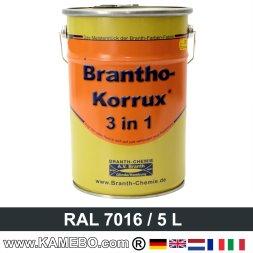 BRANTHO-KORRUX 3in1 Rostschutzlack RAL 7016 Anthrazitgrau 5 Liter