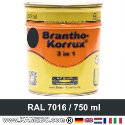 BRANTHO-KORRUX 3in1 Rostschutzlack RAL 7016 Anthrazitgrau 750 ml