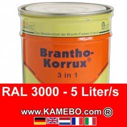 3in1 Militärlack Seidenglänzend RAL 3000 Feuerrot / Siegelrot 5 Liter