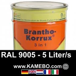 3in1 Militärlack Seidenglänzend RAL 9005 Schwarz / Tiefschwarz 5 Liter