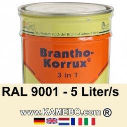 3in1 Militärlack Seidenglänzend RAL 9001 Cremeweiß 5 Liter