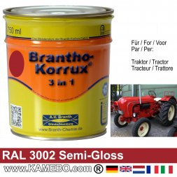 3in1 Tractor Paint Semi-Gloss RAL 3002 Carmine Red 750 ml