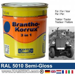 3in1 Traktor Lack Seidenglänzend RAL 5010 Enzianblau 750 ml