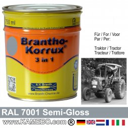 3in1 Tractor Paint Semi-Gloss RAL 7001 Silver grey 750 ml