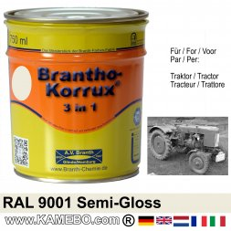 3in1 Traktor Lack Seidenglänzend RAL 9001 Cremeweiß 750 ml