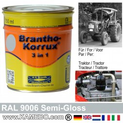 3in1 Traktor Lack Seidenglänzend RAL 9006 Silberaluminium / Weißaluminium 750 ml