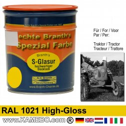 Traktorlack Hochglänzend RAL 1021 Rapsgelb / Gelb 750 ml