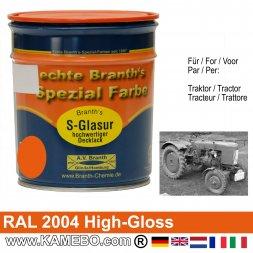 Traktorlack Hochglänzend RAL 2004 Reinorange / Orange 750