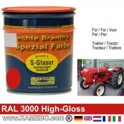 Traktorlack Hochglänzend RAL 3000 Feuerrot / Siegelrot / Rot 750 ml