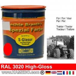 Traktorlack Hochglänzend RAL 3020 Verkehrsrot / Rot 750 ml