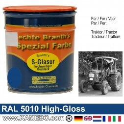 Traktorlack Hochglänzend RAL 5010 Enzianblau / Blau 750 ml