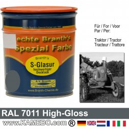 Traktorlack Hochglänzend RAL 7011 Eisengrau / Dunkelgrau / Grau 750 ml