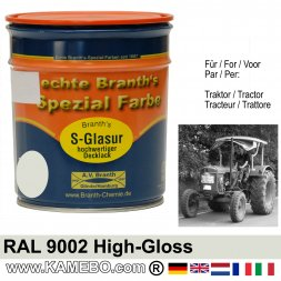 Traktorlack Hochglänzend RAL 9002 Grauweiß 750 ml