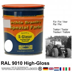Tractor High Gloss Finish Paint RAL 9010 Pure white 750 ml