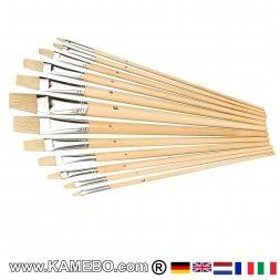 Flachpinsel / Strichzieher 12 Stück 1 bis 12 mm
