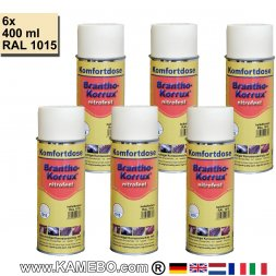 BRANTHO-KORRUX NITROFEST Anti Roest Lakverf RAL 1015 Licht Ivoorkleurig Spray 6 Stukken