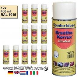BRANTHO-KORRUX NITROFEST Korrosionsschutzlack RAL 1015 Hellelfenbein Spray 12 Stück