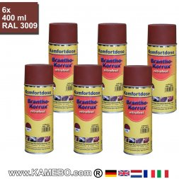 BRANTHO-KORRUX NITROFEST Korrosionsschutzlack RAL 3009 Rotbraun Spray 6 Stück