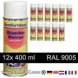 BRANTHO-KORRUX NITROFEST Korrosionsschutzlack RAL 9005 Schwarz Spray 12 Stück