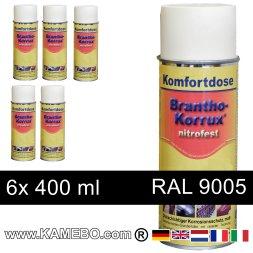 BRANTHO-KORRUX NITROFEST Korrosionsschutzlack RAL 9005 Schwarz Spray 6 Stück