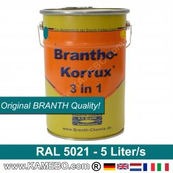 BRANTHO-KORRUX 3in1 Rostschutzfarbe RAL 5021 Wasserblau 5 Liter