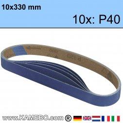 Schleifbänder 10x330 mm P40 10 Stück