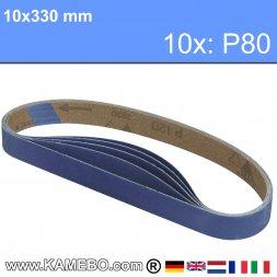 RODCRAFT Schleifbänder 10x330 mm P80 10 Stück
