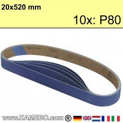 RODCRAFT Schleifbänder 20x520 mm P80 10 Stück