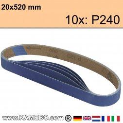 RODCRAFT Schleifbänder 20x520 mm P240 10 Stück