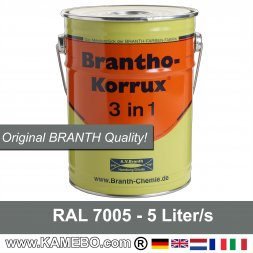 BRANTHO-KORRUX 3in1 Peinture Antirouille RAL 7005 Gris souris 5 Litres