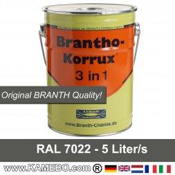 BRANTHO-KORRUX 3in1 Korrosionsschutzlack RAL 7022 Umbragrau 5 Liter