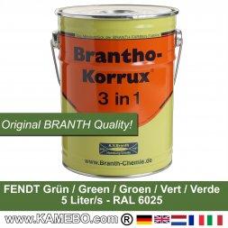 BRANTHO-KORRUX 3 in 1 Metallschutzlack / Korrosionsschutzlack Fendt Grün 5 Liter