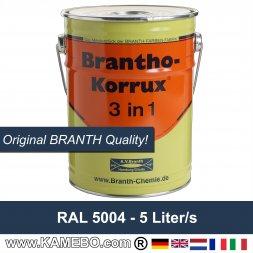 BRANTHO-KORRUX 3in1 Rostschutzfarbe RAL 5004 Schwarzblau 5 Liter