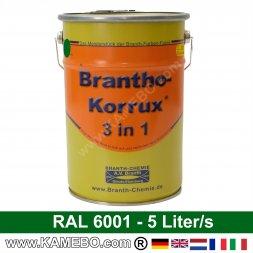 BRANTHO-KORRUX 3 in 1 Metallschutzlack / Korrosionsschutzlack RAL 6001 Smaragdgrün 5 Liter