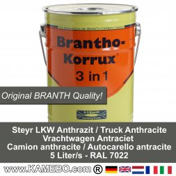 BRANTHO-KORRUX 3in1 Vernice / Smalto Antiruggine Steyr Autocarello antracite 5 Litri