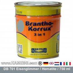 BRANTHO-KORRUX 3in1 Rostschutzlack DB 701 Silbergrau Eisenglimmerlack 750 ml