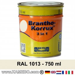 BRANTHO-KORRUX 3 in 1 Rostschutzfarbe für Metall RAL 1013 Perlweiß 5 Liter