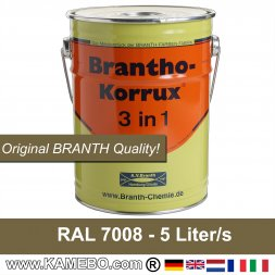 Rostschutzfarbe / Tarnfarbe RAL 7008 Khakigrau 5 Liter