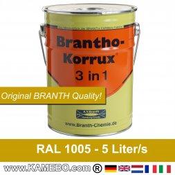 BRANTHO-KORRUX 3in1 Rostschutzfarbe RAL 1005 Honiggelb 5 Liter