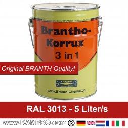 BRANTHO-KORRUX 3 in 1 Korrosionsschutzlack für Metall RAL 3013 Tomatenrot 5 Liter