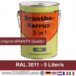 BRANTHO-KORRUX 3 in 1 Rostschutzfarbe für Metall RAL 3011 Braunrot 5 Liter