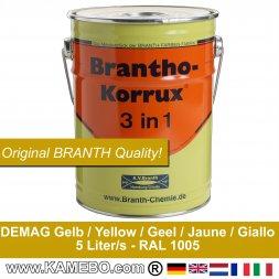 BRANTHO-KORRUX 3in1 Rostschutzfarbe DEMAG Baumaschinen Gelb 5 Liter