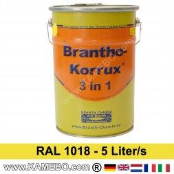 BRANTHO-KORRUX 3in1 Anti Roest Lakverf RAL 1018 Zinkgeel 5 Liter