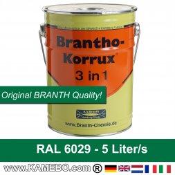 BRANTHO-KORRUX 3 in 1 Korrosionsschutzlack für Metall RAL 6029 Minzgrün 5 Liter