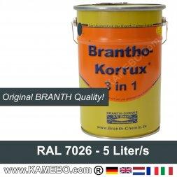 BRANTHO-KORRUX 3 in 1 Rostschutzfarbe RAL 7026 Granitgrau 5 Liter